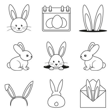 Line art black and white easter bunny set. Various rabbit symbols. Spring themed vector illustration for stamp, label, certificate, brochure, gift card, poster, coupon or banner decoration