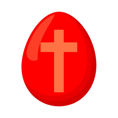 Cartoon red easter egg. Cross christianity symbol. Easter themed vector illustration for icon, stamp, label, certificate, brochure, gift card, poster, coupon or banner decoration