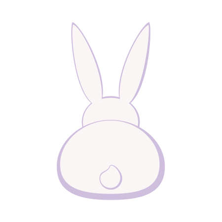 Cartoon pastel bunny back silhouette. Easter rabbit symbol. Spring themed vector illustration for stamp, label, certificate, brochure, gift card, poster, coupon or banner decoration