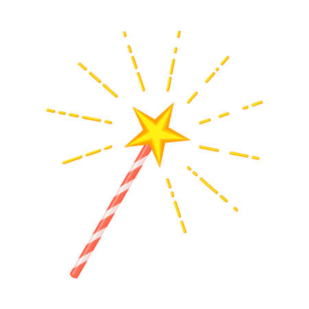 Colorful cartoon star magic wand. Wizarding party props. Birthday party themed vector illustration for icon, stamp, label, certificate, brochure, gift card, poster, coupon or banner decoration