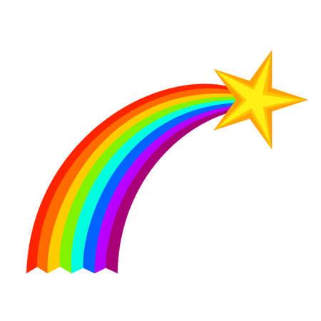 Estrella fugaz de dibujos animados coloridos. Nuevo símbolo de esperanza. Ilustración vectorial con temática de cumpleaños para decoración de icono, sello, etiqueta, certificado, folleto, tarjeta de regalo, cartel, cupón o banner