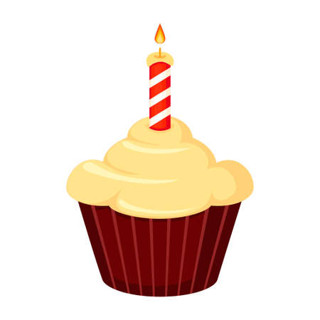 Colorful cartoon birthday cupcake, burning candle on top. Holiday party themed vector illustration for icon, stamp, label, certificate, brochure, gift card, poster, coupon or banner decoration