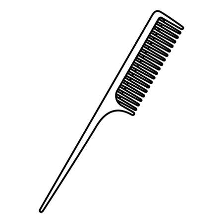 Line art black and white hairbrush. Everyday hair care tool. Hairdresser equipment vector illustration for icon, stamp, label, certificate, brochure, leaflet, poster, coupon or banner decoration