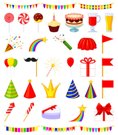 35 colorful cartoon party elements set. Birthday themed vector illustration for icon, stamp, label, certificate, brochure, gift card, poster, coupon or banner decoration Ilustração