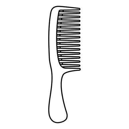 Line art black and white comb. Everyday hair care tool. Hairdresser equipment vector illustration for icon, stamp, label, certificate, brochure, leaflet, poster, coupon or banner decoration