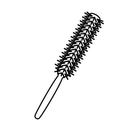Line art black and white thin round comb. Everyday hair care tool. Hairdresser equipment vector illustration for icon, stamp, label, certificate, brochure, leaflet, poster, coupon or banner decoration Ilustração