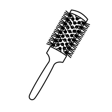 Line art black and white round comb. Everyday hair care tool. Hairdresser equipment vector illustration for icon, stamp, label, certificate, brochure, leaflet, poster, coupon or banner decoration