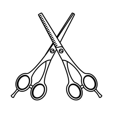 Line art black and white pair of scissors. Hairdresser tool symbol. Beauty salon themed vector illustration for icon, stamp, label, certificate, brochure, leaflet, poster, coupon or banner decoration