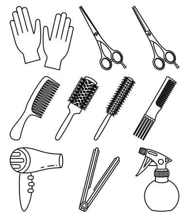 10 line art black and white hairdresser tools. Beauty salon equipment. Hair dresser themed vector illustration for icon, stamp, label, certificate, brochure, leaflet, poster or banner decoration Ilustração