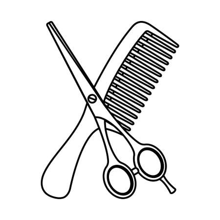 Line art black and white comb and scissors. Hairdresser tool symbol. Beauty salon themed vector illustration for icon, stamp, label, certificate, brochure, leaflet, poster, coupon or banner decoration