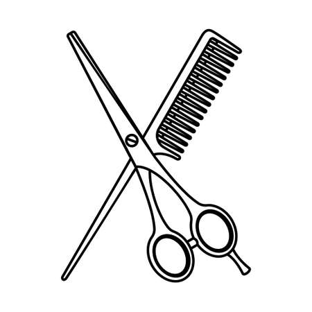 Line art black and white scissors and comb. Hairdresser tool symbol. Beauty salon themed vector illustration for icon, stamp, label, certificate, brochure, leaflet, poster, coupon or banner decoration