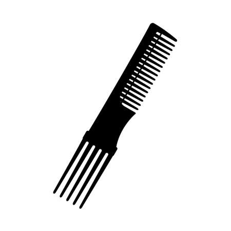 Black and white two side comb silhouette. Everyday hair care tool. Hairdresser equipment vector illustration for icon, stamp, label, certificate, brochure, leaflet, poster, coupon or banner decoration