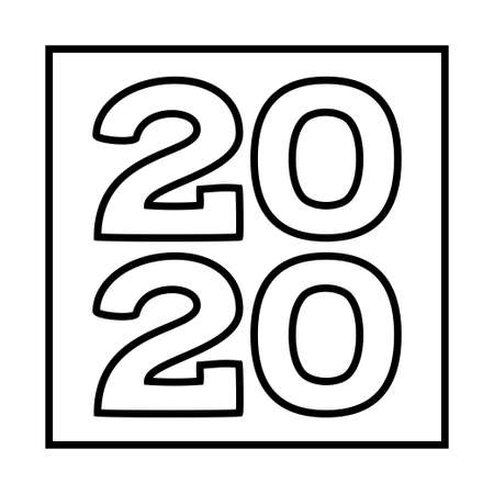Line art black and white 2020 new year square symbol. Winter holiday themed vector illustration for icon, stamp, label, certificate, gift card, invitation, poster, coupon or sale banner decoration Ilustração