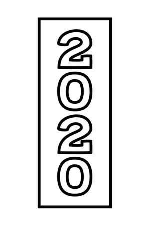 Line art vertical 2020 new year number symbol. Winter holiday themed vector illustration for stamp, label, certificate, brochure, gift card, invitation, poster, coupon or sale banner decoration