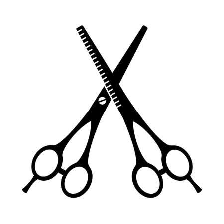 Black and white pair of scissors silhouette Hairdresser tool symbol. Beauty salon themed vector illustration for icon, stamp, label, certificate, brochure, leaflet, poster, coupon or banner decoration Ilustração