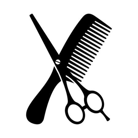 Black and white comb and scissors silhouette. Hairdresser tool symbol. Beauty salon themed vector illustration for icon, stamp, label, certificate, brochure, leaflet, coupon or banner decoration