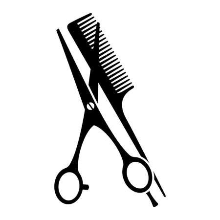 Black and white comb and open scissors silhouette. Hairdresser tool symbol. Beauty salon themed vector illustration for icon, stamp, label, certificate, brochure, leaflet, poster or banner decoration Ilustração