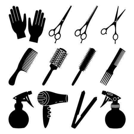 12 black and white hairdresser tools. Beauty salon equipment. Hair dresser themed vector illustration for icon, stamp, label, certificate, brochure, leaflet, poster or banner decoration Ilustração