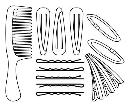 Line art black and white hair styling set Comb, pins and scrunchy elastic band Hairdresser equipment vector illustration for icon, label, certificate, brochure, leaflet, coupon or banner decoration