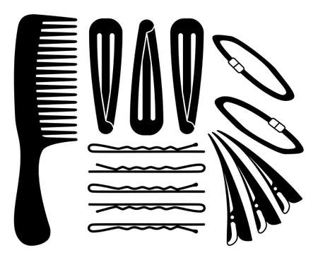 Black and white hair styling silhouette set Comb, pins and scrunchy elastic band Hairdresser equipment vector illustration for icon, label, certificate, brochure, leaflet, coupon or banner decoration