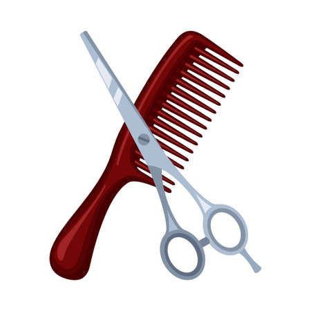 Colorful cartoon comb and scissors. Hairdresser tool symbol. Beauty salon themed vector illustration for icon, stamp, label, certificate, brochure, leaflet, coupon or banner decoration