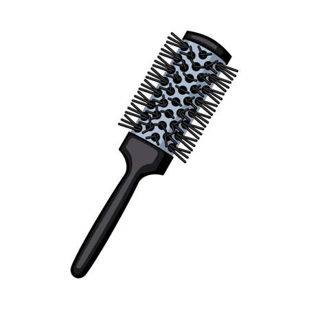 Cartoon round comb. Everyday hair care tool. Hairdresser equipment vector illustration for icon, stamp, label, certificate, brochure, leaflet, poster, coupon or banner decoration