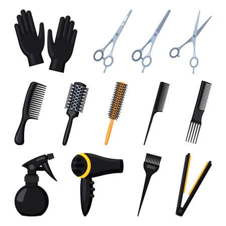 13 outils de coiffeur de dessins animés. Équipement de salon de beauté. Illustration vectorielle sur le thème du coiffeur pour la décoration d'icônes, de timbres, d'étiquettes, de certificats, de brochures, de dépliants, d'affiches ou de bannières