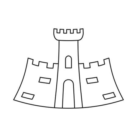 Line art black and white fairytale castle. Medieval theme vector illustration for icon, stamp, label, certificate, gift card, invitation, coupon or sale banner decoration