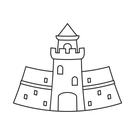 Line art black and white medieval castle. Fairy tale theme vector illustration for icon, stamp, label, certificate, gift card, invitation, coupon or sale banner decoration
