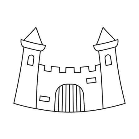 Line art black and white fairytale castle gate. Medieval theme vector illustration for icon, stamp, label, certificate, gift card, invitation, coupon or sale banner decoration Vectores