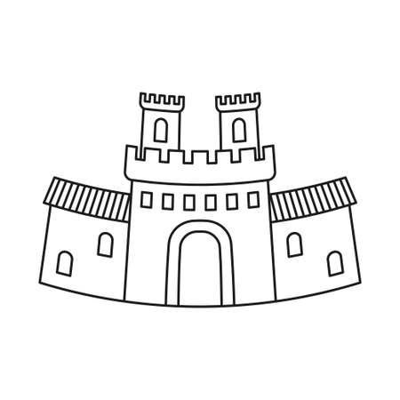 Line art black and white fairy tale castle gate. Medieval theme vector illustration for icon, stamp, label, certificate, gift card, invitation, coupon or sale banner decoration Vectores