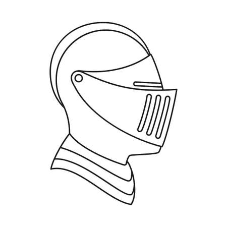 Line art black and white knight helmet. Medieval festival props. Fairy tale theme vector illustration for icon, stamp, label, certificate, gift card, invitation, coupon or sale banner decoration Ilustração