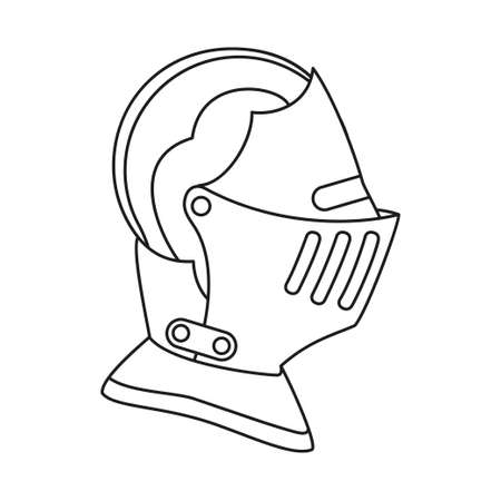 Line art black and white historycal helmet. Medieval festival props. Fairy tale theme vector illustration for icon, stamp, label, certificate, gift card, invitation, coupon or sale banner decoration