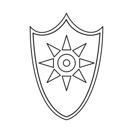 Line art black and white sun shield. Medieval festival props. Fairy tale theme vector illustration for icon, stamp, label, certificate, gift card, invitation, coupon or sale banner decoration Vectores