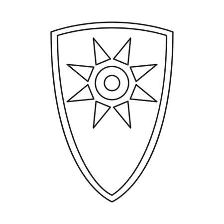 Line art black and white fairytale shield. Medieval festival props. Fairy tale theme vector illustration for icon, stamp, label, certificate, gift card, invitation, coupon or sale banner decoration Foto de archivo - 137963285