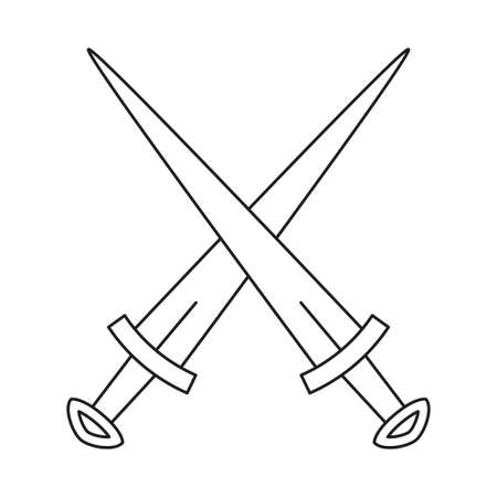 Line art black and white crossed daggers. Medieval festival props. Fairy tale theme vector illustration for icon, stamp, label, certificate, gift card, invitation, coupon or sale banner decoration