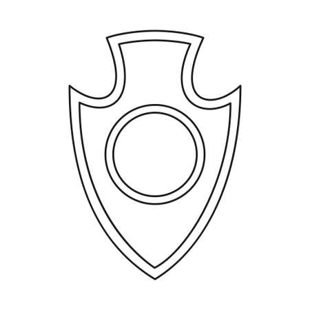 Line art black and white shield. Medieval festival props. Fairy tale theme vector illustration for icon, stamp, label, certificate, gift card, invitation, coupon or sale banner decoration