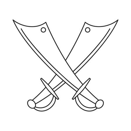 Line art black and white crossed scimitars. Medieval festival props. Fairy tale theme vector illustration for icon, stamp, label, certificate, gift card, invitation, coupon or sale banner decoration