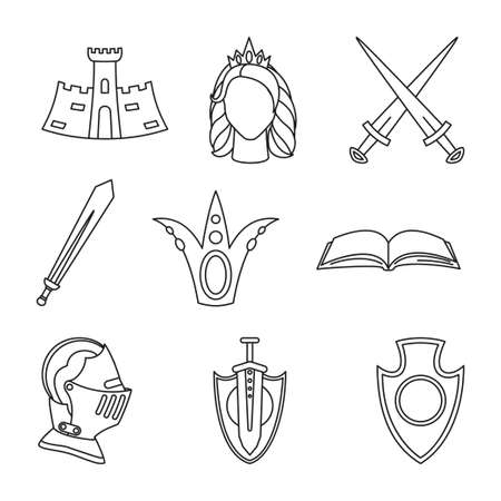 9 line art black and white fairytale elements. Medieval festival props. Fairy tale theme vector illustration for icon, stamp, label, certificate, gift card, invitation, coupon or sale banner decoration