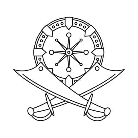 Line art black and white scimitar shield. Medieval festival props. Fairy tale theme vector illustration for icon, stamp, label, certificate, gift card, invitation, coupon or sale banner decoration 向量圖像