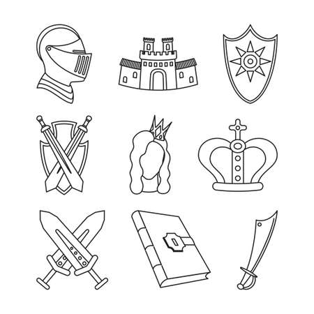 9 line art black and white fairytale icons. Medieval festival prop elements. Fairy tale theme vector illustration for stamp, label, certificate, gift card, invitation, coupon or sale banner decoration