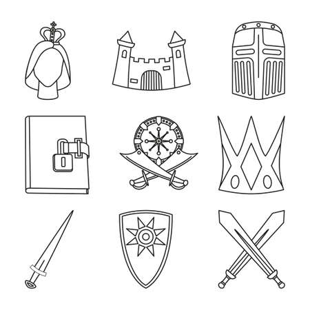 9 line art black and white fairy tale elements.