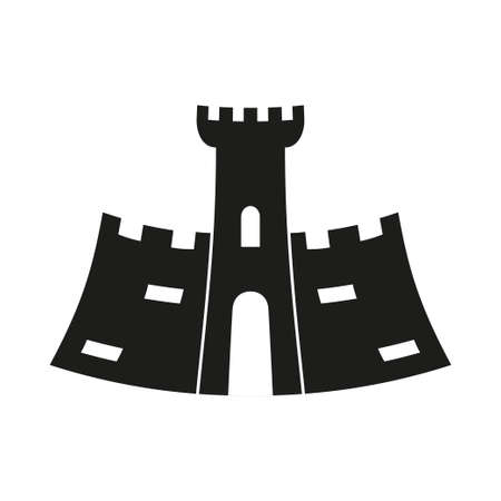 Black and white fairytale castle silhouette.