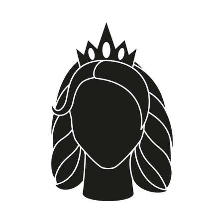 Black and white queen avatar. Royal crown on woman head. Fairy tale theme vector illustration for icon, stamp, label, certificate, gift card, invitation, coupon or sale banner decoration Vectores