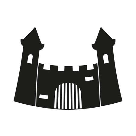Black and white fairytale castle gate silhouette. Medieval theme vector illustration for icon, stamp, label, certificate, gift card, invitation, coupon or sale banner decoration