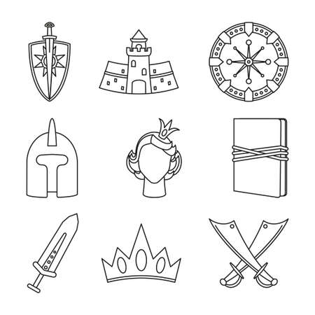 9 line art black and white fantasy elements. Historical festival props. Fairy tale theme vector illustration for icon, stamp, label, certificate, gift card, invitation, coupon or banner decoration