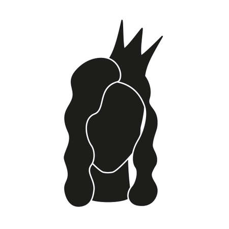 Black and white beauty queen. Royal crown on woman head. Fairy tale theme vector illustration for icon, stamp, label, certificate, gift card, invitation, coupon or sale banner decoration Vectores