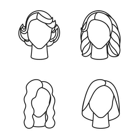 Line art black and white girl hairstyle set Woman avatar with different hair design Beauty themed vector illustration for icon, stamp, label, certificate, brochure, poster, coupon or banner decoration