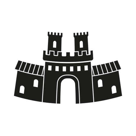Black and white fairy tale castle gate silhouette. Medieval theme vector illustration for icon, stamp, label, certificate, gift card, invitation, coupon or sale banner decoration