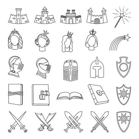 25 line art black and white fairytale elements. Medieval festival props. Fairy tale theme vector illustration for icon, stamp, label, certificate, gift card, invitation, coupon or sale banner decoration Vectores